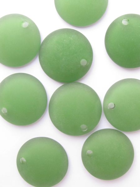 Bead Supply Cultured Sea Glass PENDANTS 25mm Concave Coin Shamrock GREEN frosted top drilled for making jewelry