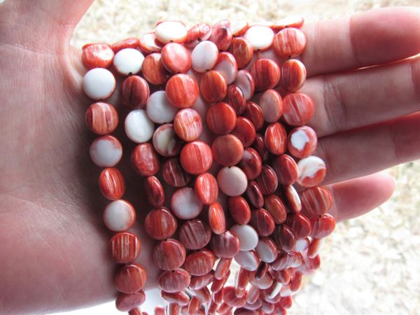 Red Spiny Oyster SHELL BEADS 10mm Coin from Sea of Cortez bead supply for making jewelry