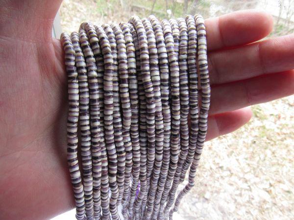"Wampum BEADS Natural Purple Shell 4mm Heishe 16"" Strand Genuine Quahog USA Rare jewelry supply"