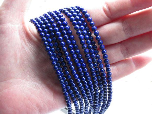 Bead Supply Natural LAPIS LAZULI BEADS 4mm round strand for making jewelry