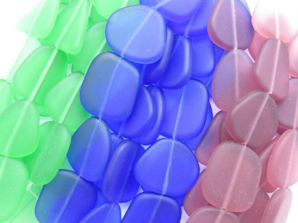 Bulk Cultured Sea Glass BEADS 22-24mm Flat Free form Hanks ASSORTED BOLD Colors bulk bead supply for making jewelry