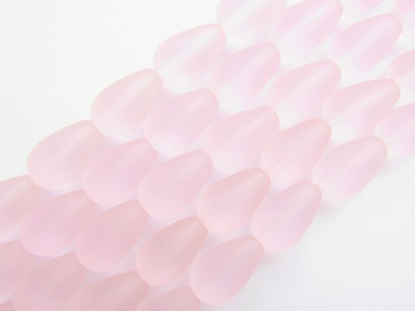 Bead Supply Cultured Sea Glass BEADS Teardrop 16x10mm Blossom PINK for making jewelry