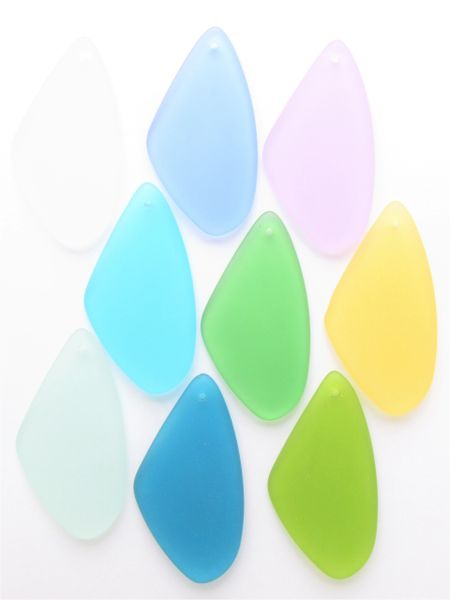 Frosted Glass necklace PENDANTS 9 pc 53x22mm assorted colors top drilled bead supply for making jewelry
