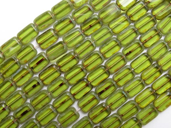 bead supply CZECH BEADS Glass Table Cuts 12mm Rectangle Olivine Picasso Olive Green Window bead supply for making jewelry
