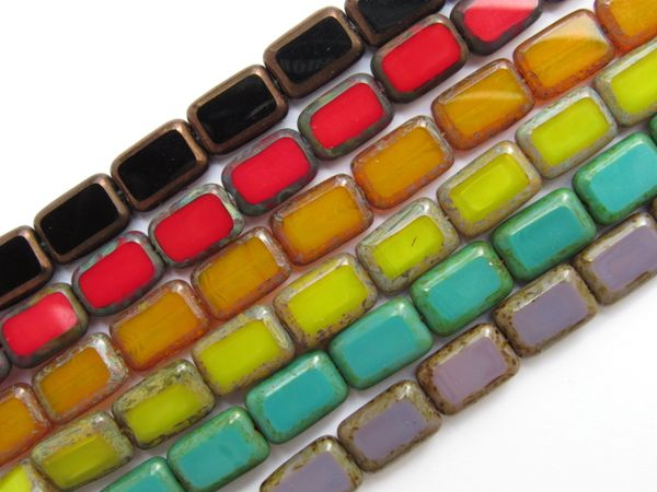 CZECH Glass BEADS Window Table Cuts Rectangle 12mm Assorted 6 Strands Opaque 24 pc ea