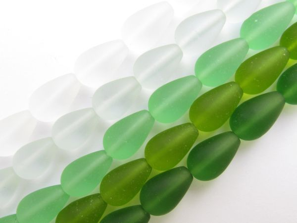 Bead Supply Cultured Sea Glass BEADS 16x10mm GREEN 5 strands 12 pc ea assorted bead supply for making jewelry