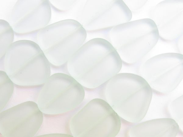 Bead Supply Cultured Sea Glass BEADS 22-24mm Light Aqua frosted flat free form for making jewelry