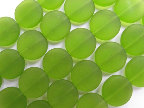 Cultured Sea Glass Beads 15mm Coin OLIVE Green frosted matte finish bead supply for making jewelry