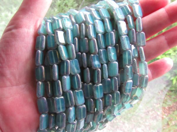 CZECH Glass BEADS Milky Turquoise12x8mm Table Cut tablecuts Window bead Rectangle strand supply for making jewelry