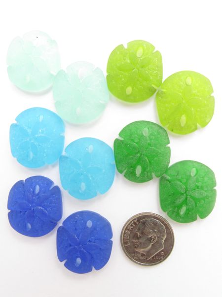 Cultured Sea Glass Pendants Sand Dollar 21x19mm 10 pc Assorted Blue Green bead supply for making jewelry