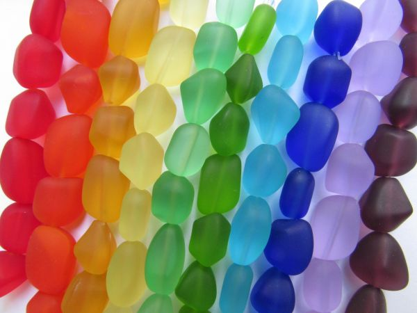 Cultured Sea Glass BEADS approximately 15mm 10 Strands assorted Free form frosted nugget bead supply for making jewelry
