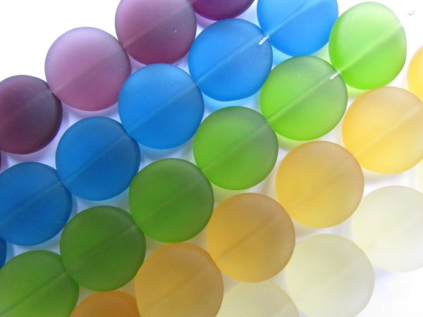 Cultured Sea Glass Beads 15mm Coin BOLD colors 5 assorted strands frosted matte bead supply for making jewelry