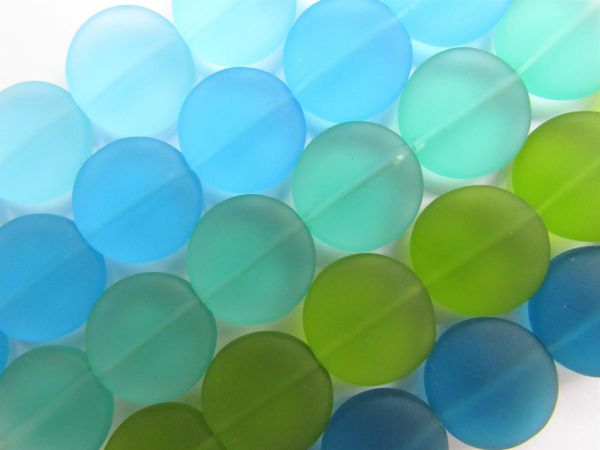 Cultured Sea Glass Beads 15mm Coin BLUE GREEN colors 5 assorted strands frosted matte bead supply for making jewelry