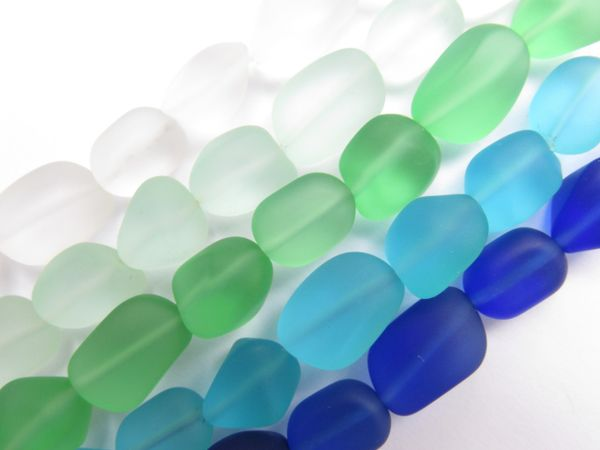 Cultured Sea Glass BEADS 13 - 15mm Free form Nugget Assorted BLUE GREEN frosted 5 Strands for making jewelry