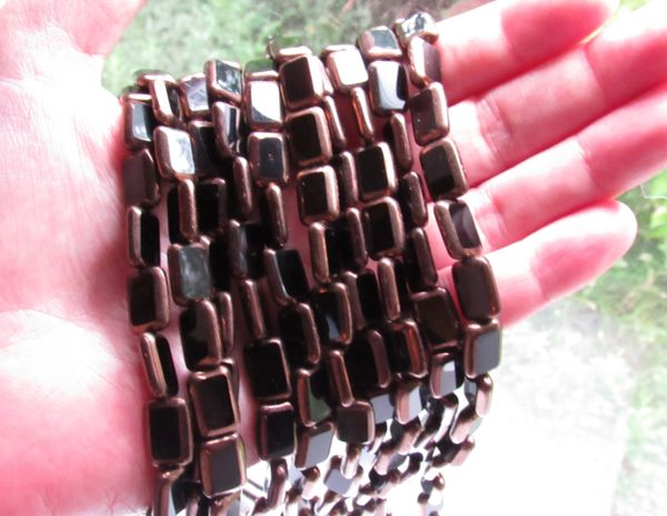 CZECH Glass BEADS tablecuts Table Cut Rectangle 12x8mm Patina JET Black strands for making jewelry