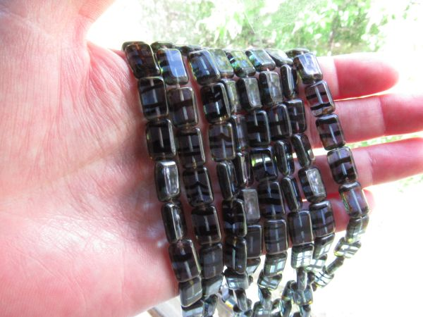 Czech Glass Window Beads 12x8mm rectangle Sapphire Tortoise Picasso tablecuts bead supply for making jewelry