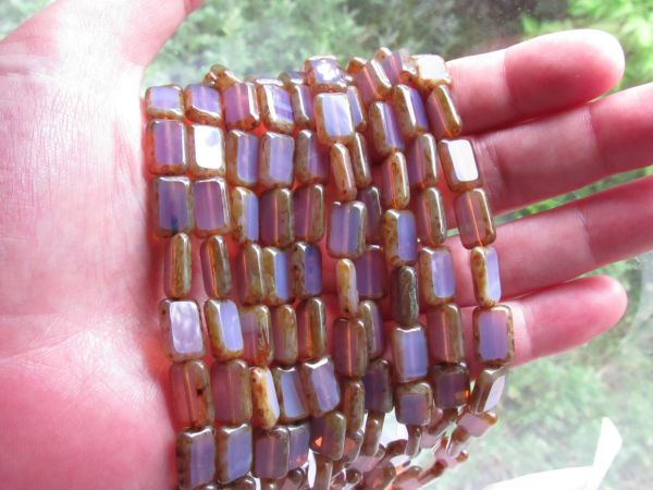 CZECH Glass BEADS Table Cut 12x8mm Rectangle Milky Translucent Amethyst 24 pc Strand