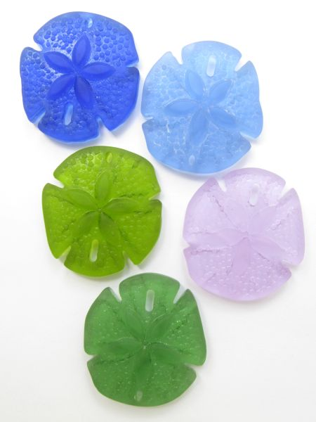 Cultured Sea Glass PENDANTS Sand Dollar 40x36mm Assorted 5 pc necklace pendant supply for making jewelry