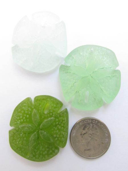 Glass Sand Dollar PENDANTS 40x36mm Large Sand Dollar LIGHT GREEN Cultured Sea Glass 3 pc necklace pendant lot