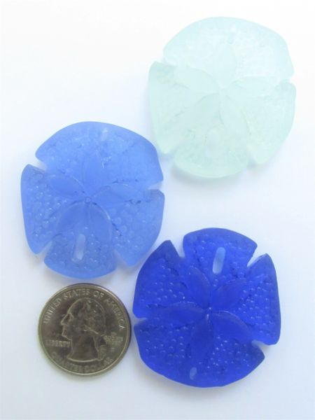 Glass Sand Dollar PENDANTS 40x36mm assorted BLUE Large Sand Dollar 3 pc necklace pendant beach lover jewelry making supplies