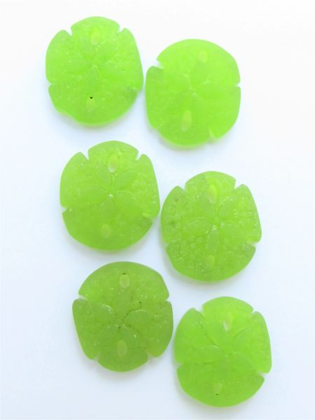 Cultured Sea Glass SAND DOLLAR PENDANTS 21x19mm OLIVE Green frosted bead supply for making jewelry