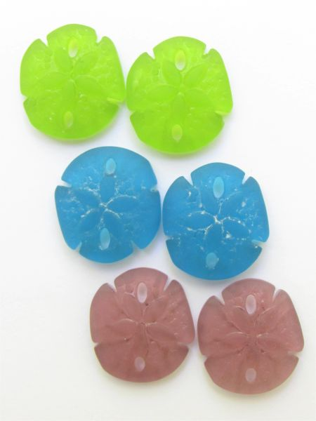 Glass SAND DOLLAR PENDANTS 21x19mm BOLD colors bead supply for making jewelry