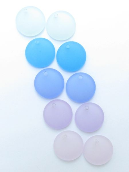 Cultured Sea GLASS PENDANTS 18mm Coin Assorted 5 pairs BLUE PURPLE jewelry supply