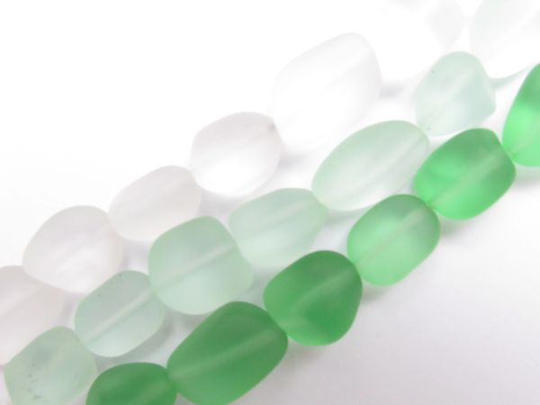 Cultured Sea Glass BEADS 13 - 15mm Nugget assorted LIGHT GREEN frosted free form bead supply for making jewelry