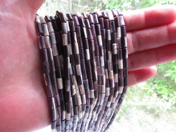 Bead Supply Wampum BEADS 10x4mm tube beads More Purple Shell Quahog USA for making jewelry