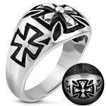 Black Inlay Cross Ring