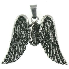 Steel Wheel Wings Pendant