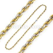7MM Two Tone Gold Tri Link