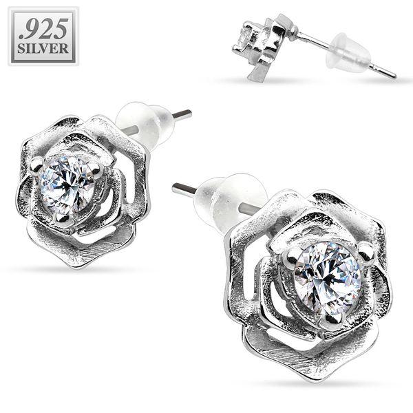 Silver Rose Studs w/ CZ