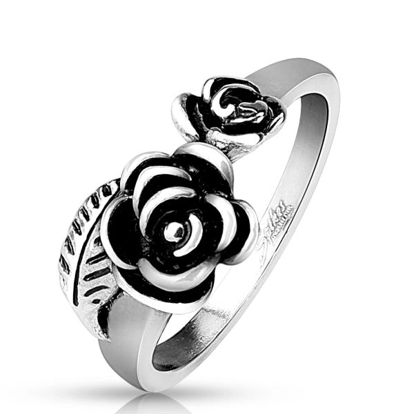 Two Roses with Leaf Ring
