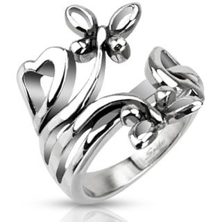 Butterflies and Hearts Ring
