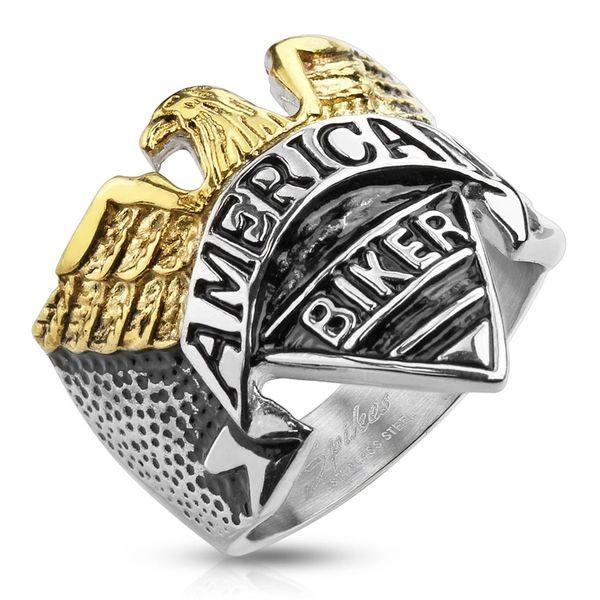 2 Tone American Biker Ring