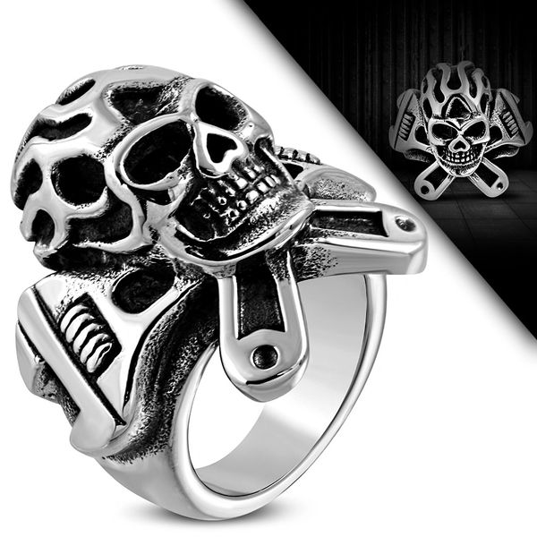 Flame Skull w/ Crossed Wrenches