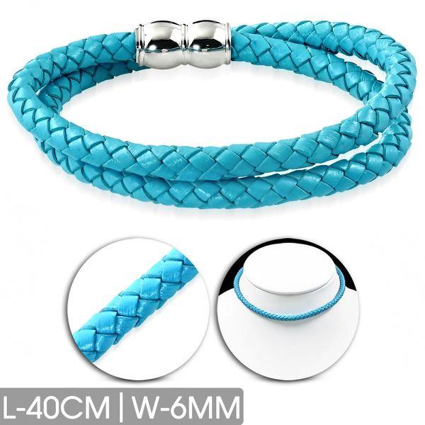 Turquoise Leather Choker-Bracelet