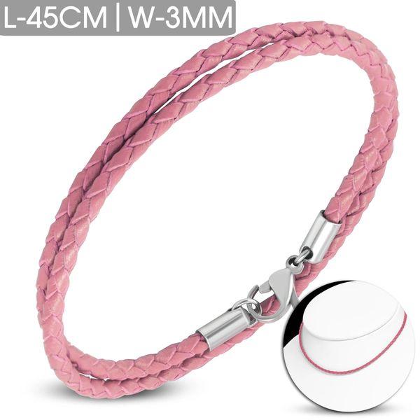 Pink Leather Choker-Bracelet