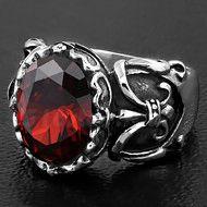 Red center stone w/ Fleur De Lis on side