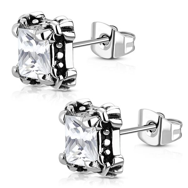 Square Studs with Clear CZ