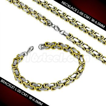 Two-Toned Byzantine Link Chain w/ Bracelet