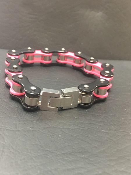 Small Pink and Black Biker Bracelet