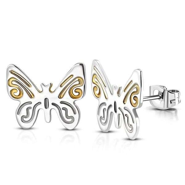 Butterfly Two Toned Stud