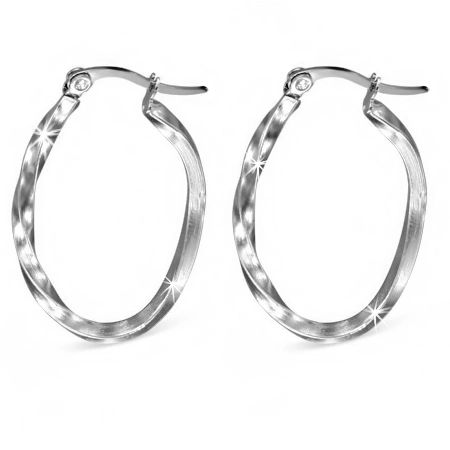Medium Twisted Oval Hoops