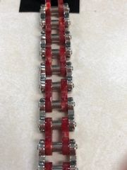 Large Red and Silver Bike Chain
