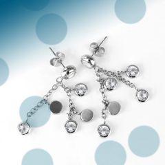 Drop CZ Stud Earrings