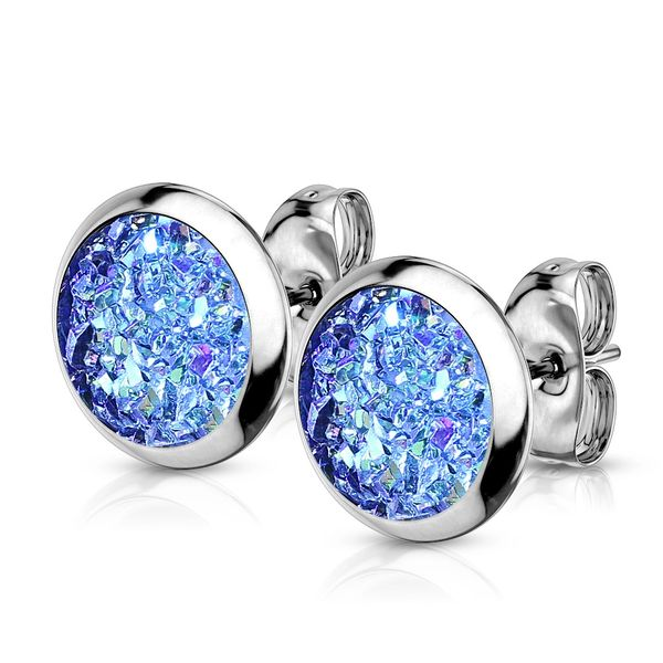 Aqua Druzy Stone Stud Earrings