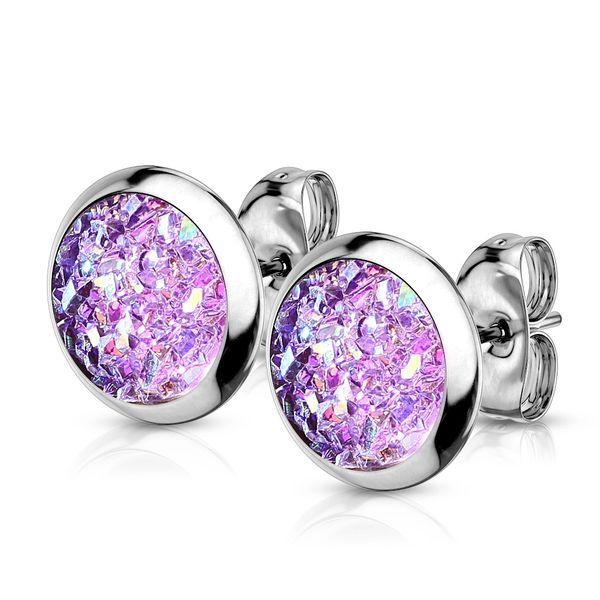 Purple Druzy Stone Stud Earrings