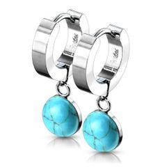 Semi Precious Turquoise Dangle Huggie Earring